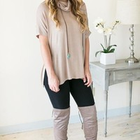 Find Your Place Cowl Neck Top - Tan