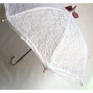 Girls Children White Lace Parasol - Limite Supply!