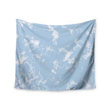 "Vasare Nar ""Marble Clouds"" White Blue Wall Tapestry"