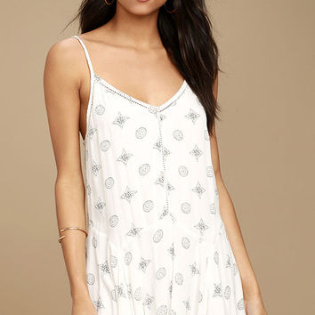 Amuse Society High Road White Print Shift Dress