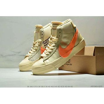 Nike Blazer Mid x OFF WHITE Trending Women Men Stylish High-Top Sports Shoes Sneakers Khaki
