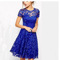 Lace Short Sleeve Dress