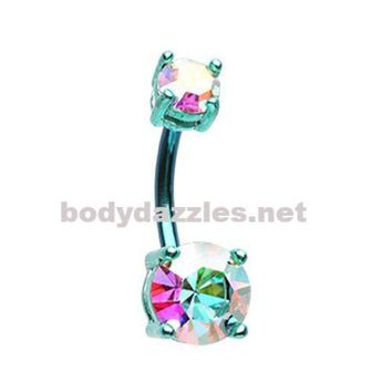 Teal Colorline Brilliant Sparkle Gem Prong Set Belly Button Ring Navel Ring 14ga