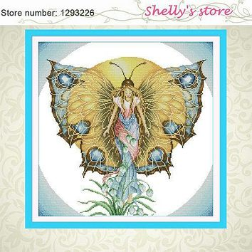 Spirit of butterfly fairy paint Counted or Stamped Cross Stitch 11CT 14CT DMC Cross Stitch Kit Embroidery Home Decor Needlework