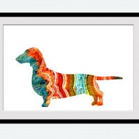 Dachshund poster Short Haired Dachshund print Animal print Dog watercolor poster Dog print Home decoration Kid room decor Dachshund art W430