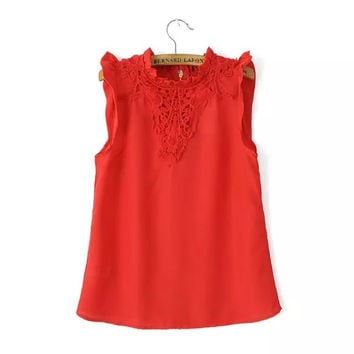 Summer Hollow Out Lace Slim Sleeveless Tops T-shirts [6047797313]