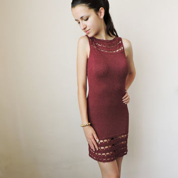 FREE SHIPPING Elegand knit dress Claret short dress Boat neck dress Sleeveless party dress Lace crochet hem Formal handmade dress 4 colors