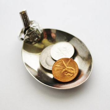 Vintage Spoon Ring Holder, Tea Bag Holder, Tiny Trinket Bowl, Coin Change Dish, Recycled Silverware by Hendywood (8)