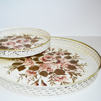 Vintage Serving Tray Metal Trays Table Floral Print Trays Set of 2 Shabby Chic Trays White and Pink Greek Keys Pattern Vintage Metal Table