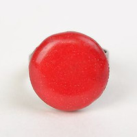 Handmade laconic round red ring with metal basis of adjustable size for women