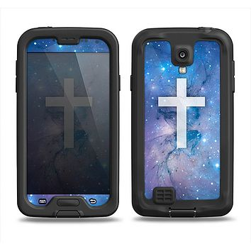 The Vector White Cross v2 over Space Nebula Samsung Galaxy S4 LifeProof Fre Case Skin Set