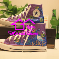 Purple Converse Sneakers, Peacock Shoes, Custom Shoes with Peacock Design, Women Shoes, Hand Painting High Cut All Star Converse Sneakers
