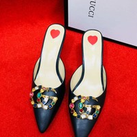 Gucci Women High Heel Sandals Soles Heart Pointed shoes B-ALS-XZ Black