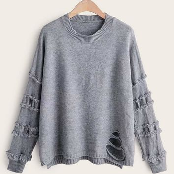 Solid Ripped High Low Hem Sweater