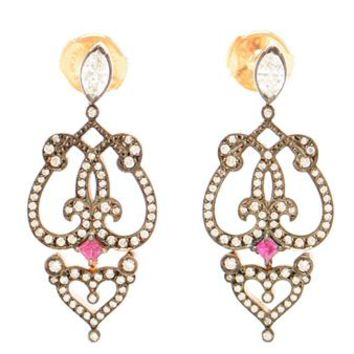 SABINE G | 18k Rose Gold, Ruby and Diamond Earrings | brownsfashion.com | The Finest Edit of Luxury Fashion | Clothes, Shoes, Bags and Accessories for Men & Women