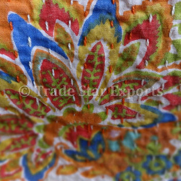 Printed Cotton Kantha Quilt, Paisley Pattern Kantha Bed Cover, Queen Size, Orange Color, Reversible Handmade Kantha Throw, Floral Print