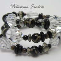 Stackable Bracelet, Three Strand Wire Wrapped Bracelet, Made with Natural Artisan Beads and Crystals
