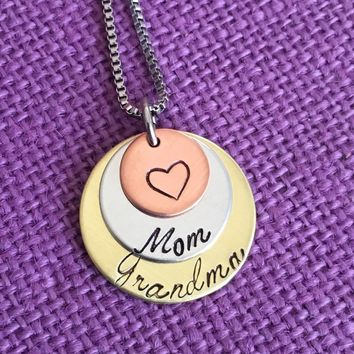 Mom Necklace -  Mother's Day Gift - Gift for Grandma - Mom Grandma Necklace - Best Moms Get Promoted to Grandma - Mom - Grandma