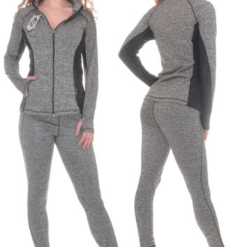 Active Wear Set With Thumb Hole Black Trim