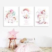 Girls Baby Girl Unicorn Room Decor Nordic Poster Picture Cuadros Decoration Unicornio Wall Art Canvas Painting Nursery Unframed
