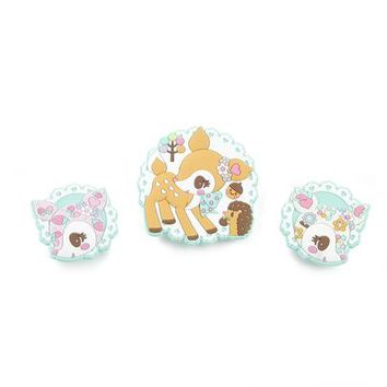 Hummingmint Rubber Clips Set of 3: Patchwork