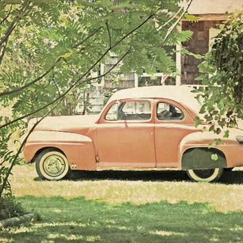 Apricot Peach Orange Vintage Car - Fine Art Photo - Classic Car - Green