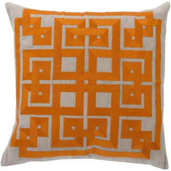 Labyrinth Orange Linen Pillow