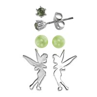 Disney Fairies Tinker Bell Silver Tone Simulated Crystal & Simulated Pearl Stud Earring Set (Green)