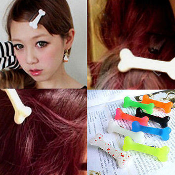 Fashion Lovely Women Gril Vivid Dog Bone Hair Clips Side Hairpin Colorful