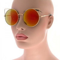 Mirror Round Pointy Cat Eye Sunglasses Circle Retro Glasses - Cannon