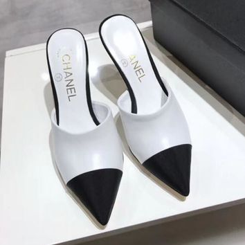 Chanel Trending Women Stylish Color Matching Pearl Heel Pointed High-Heeled Sandals Shoes White I-ALS-XZ