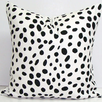 Black and White PILLOW.18x18 inch Pillow Cover..Printed Fabric Front Back.Black Pillow. Polka Dot.Spots. Cushion.Dalmation.Animal Print.Cm