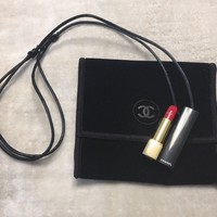 *VERY RARE* CHANEL Rouge Lipstick Necklace VIP Gift New in Velvet Pouch LAST ONE