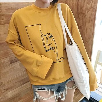 Smoking Girl Line Art Sweatshirt