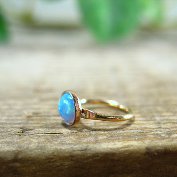 Gemstone Fire Opal Hoop Earring Blue Gold Single