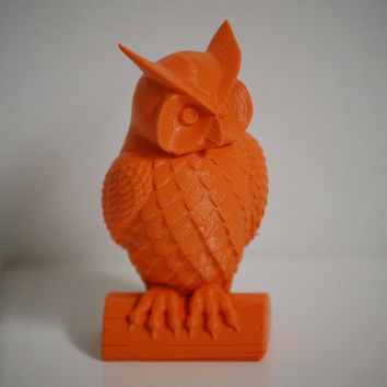 3D Printed Miniature Owl Statue Sculpture Animal Bird Home Decor