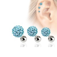 1pc Stainless Steel 18G Full Crystal Ball Ear Cartilage Piercing Helix Tragus Barbell Ear Studs Body Jewelry 5 Colors 3 4 5mm