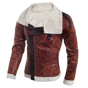 High Quality Fur Leather Jacket Coats For Men Casual New Men Motorcycle Jackets Men Clothing