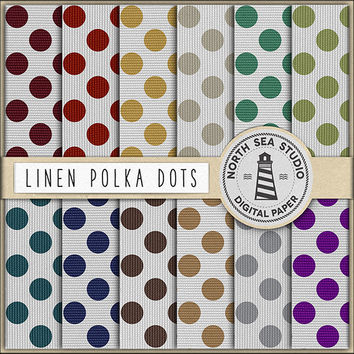Polkadot Digital Paper Linen Polkadots Digital Scrapbook Burlap Pattern Canvas Background Canvas Digital Paper 12x12 Inches Digital Download