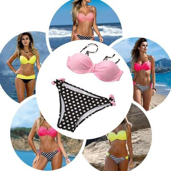 Summer 2017 Women Bikini SEXY Push up Bikinis Set HOT Swimming Beach Underwired Swimsuit Brazilian Bather Bathing Suit Plus Size