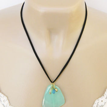Chalcedony Gemstone Pendant Necklace Handcrafted Aqua Blue Black Cord