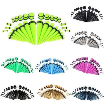 ac PEAPO2Q 32pc Shellhard Ear Gauges Set Tapers & Plugs Acrylic Stainless Steel 14G-00G Stretching Kits Flesh Tunnel Body Piercing Jewelry