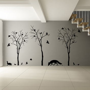 Vinyl Wall Decal Forest Trees, Fox, Flock of Birds & Rabbit Silhouette / Nature Art Decor Sticker / DIY Mural  + Free Random Decal Gift!