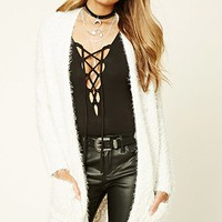 Fuzzy Knit Open-Front Cardigan