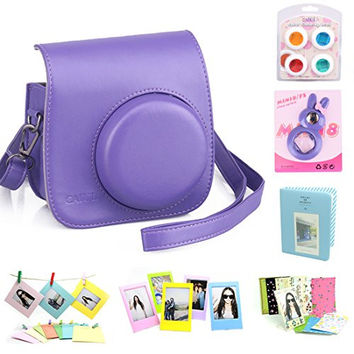 CAIUL 7 in 1 Fujifilm Instax Mini 8 Film Camera Accessories Bundle(Purple Instax Mini 8 Case/ Mini Album/ Close-Up Selfie Lens/ 4 colors Close-Up Lens/ Wall Hang Frames/3 inch Frame/ Film Stickers)