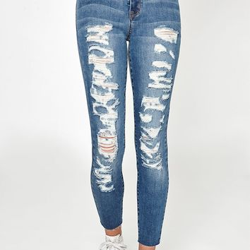 PacSun Mauled Blue High Rise Jeggings at PacSun.com