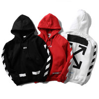 OFF WHITE Hooded Fashion Print Top Sweater Hoodie Sweatshirt