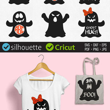 Ghost Svg Halloween Ghost Monogram Frame Svg Split Border Svg Halloween Cuttable Designs download clipart for Cricut Dxf Ghost Silhouette