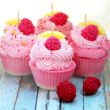 Raspberry Lemonade Scented Soy Cupcake Candles - Candles on Sale - Food Shaped - Cupcakes - Pink Soy Candles - Handmade - Gifts - Set of 4