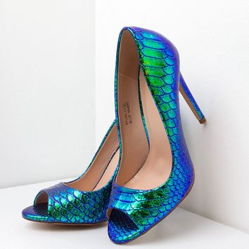 Peep Toe Metallic Heel in Blue and Yellow